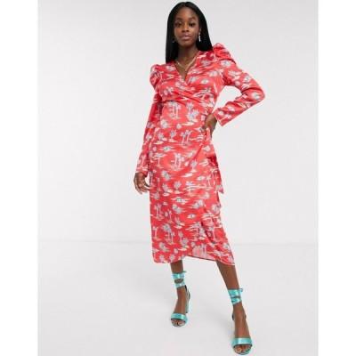 ネバーフリードレス Never Fully Dressed レディース ワンピース ラップドレス ミドル丈 wrap midi dress with puff sleeve detail in red palm print