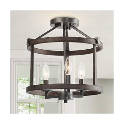 [新品]LNC A03411 Farmhouse Faux-Wood Semi Flush Mount Ceiling Light Fixture for Bedroom Hallway, Foyer, Entryway, Kitchen, Stairway, D