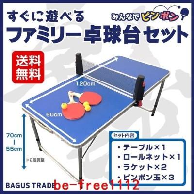 みんなでピンポンすぐに遊べる折りたたみ式ファミリー卓球台セット(卓球台ロールネットラケットピンポン玉)