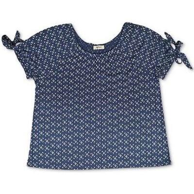 スタイル&コー Style & Co レディース トップス Petite Printed Tie-Sleeve Top Indigo Stamps