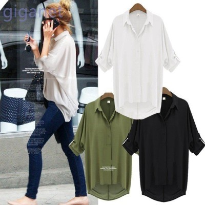 3カラーセレブ風エポレット付きシフォンサマーシャツ