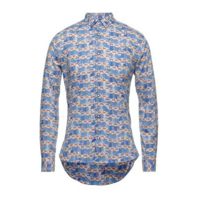 NEILL KATTER 柄入りシャツ  メンズファッション  トップス  シャツ、カジュアルシャツ  長袖 ブルー
