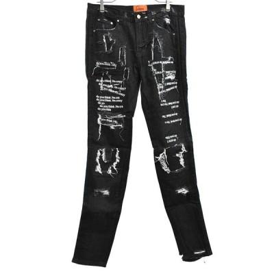 EV BRAVADO (エブ ブラバド) Do You Think I'm Crazy Embroidered Jeans ブラック 英字刺繍デストロイ加工スキニーデニムパンツ 白文字