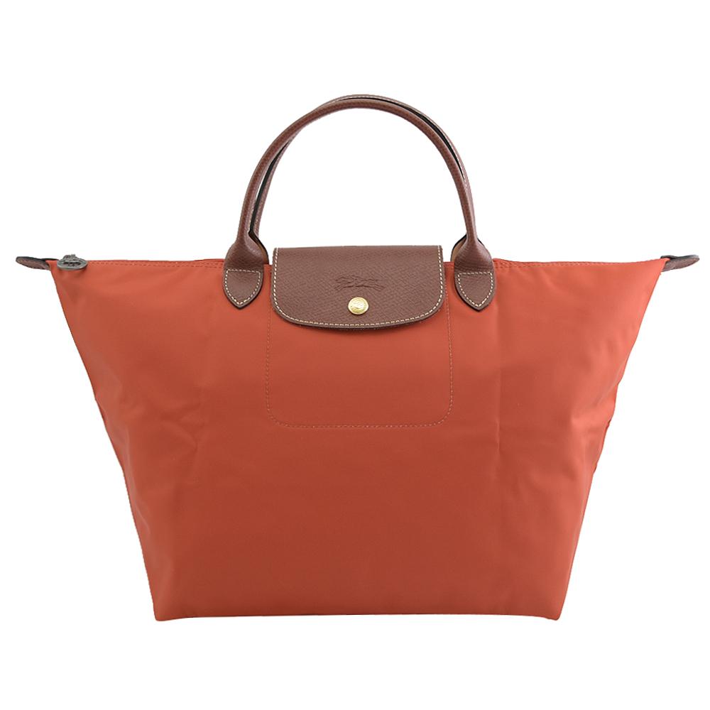 Longchamp Le Pliage 折疊短肩帶手提包.深橘 M #1623