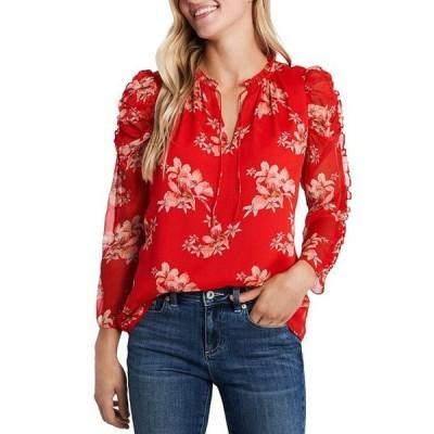 セセ レディース シャツ トップス Ruffled Long Sleeve Floral Print Blouse