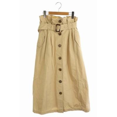 【中古】アーバンリサーチ URBAN RESEARCH スカート フレア ロング フロントボタン ベルト付き F ベージュ /AA レディース 【ベクトル 古着】