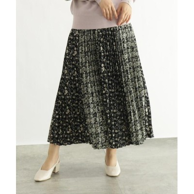 OZOC(オゾック) [洗える]フラワー柄切替プリーツスカート