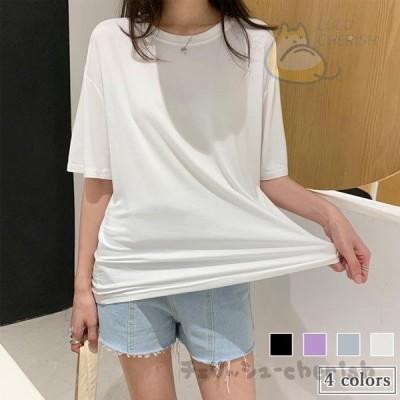 半袖Tシャツ 夏 レディース カットソー クルーネック Tシャツ 半袖 ゆったり 無地 サマーTシャツ 白 夏Tシャツ 五分丈袖 ゆったりTシャツ