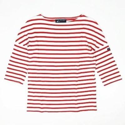 【中古】セントジェームス SAINT JAMES ボーダー柄 Tシャツ カットソー 七分袖 プルオーバー トップス XS 赤×白