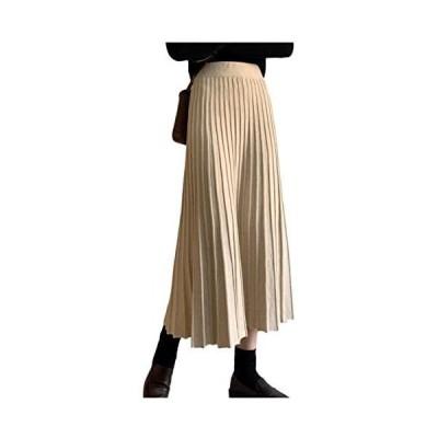 [シオン] プリーツスカート 暖かい ロング丈 ミニ丈 2パターン展開 暖かい ニットスカート (ロング/ホワイト Free Size)