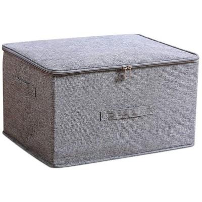 収納ボックス MINKUROW 収納ケース ファスナー 大容量 透明窓 折り畳み 取っ手付き 蓋付き 整理ボックス 洗える 防塵 防湿 無臭 綿麻 大