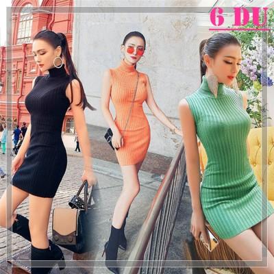 新作着やせ効果抜群  ファッション女性服1位  タートルネック ニット ワンピース 袖なし お洒落な バッグヒップ 編み物 ワンピース