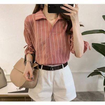 ブラウスレディースストライプシャツvネック大きいサイズシフォン韓国ファッショントップス半袖5分袖フィス通勤