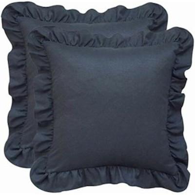 クッションカバー フリル付き 2枚セット 座布団 カバー ソファークッション 45×45サイズ (濃い灰色)