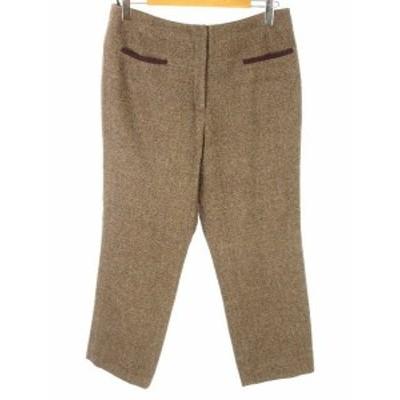【中古】クリスチャンオジャール LIBERTE ウール混 テーパード パンツ ウエスト80(15) 大きいサイズ ブラウン系