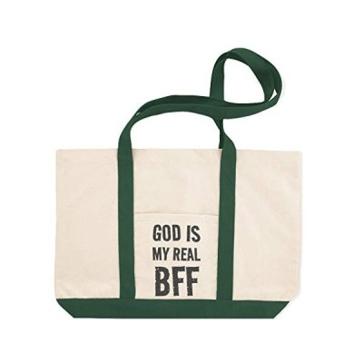 Canvas Shopping Tote Bag God Is My Real Bff Inspiration & Motivation God Is Real Beach Bags for Women Inspirational Gifts Green Design Only【並行