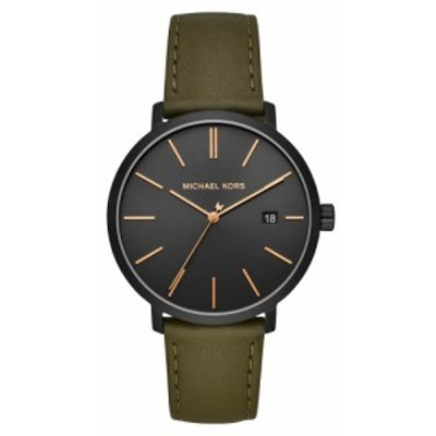 マイケル コース MICHAEL MICHAEL KORS メンズ 腕時計 Blake Leather Strap Watch. 42Mm Olive/Black