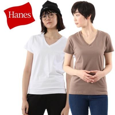 ヘインズ 半袖 Tシャツ Vネック ジャパンフィット 2枚組 5.3oz HW5325-008 レディース