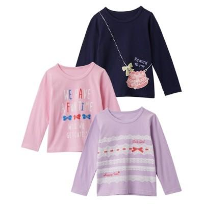 綿100%前後プリントTシャツ3枚組(女の子 子供服) (Tシャツ・カットソー)Kids' T-shirts