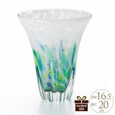 ガラス花瓶 国産 花器 おしゃれ 津軽びいどろ 花瓶 ガラス 日本製 津軽 龍飛岬 紫陽花 カップ型 高さ20cm