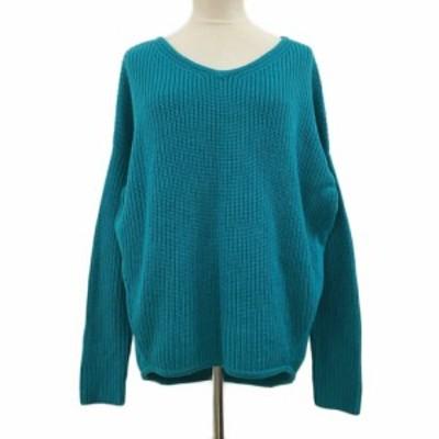 【中古】ビッキー VICKY セーター ニット プルオーバー Vネック リブ 長袖 2 緑 グリーン レディース