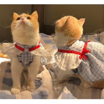 猫服 ニャンコ 縞柄 ペット服 春物 春 夏 ペット用品 猫用品 レース 着物 猫の服 可愛い