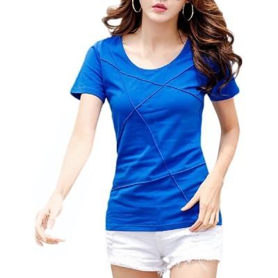 Qin man yuan レディース 半袖 Tシャツ カットソー パイピングデザイン シンプル 無地 通勤通学 細身 切り替え (ブルー,