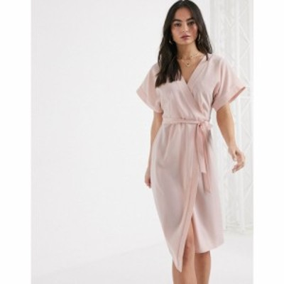 エイソス ASOS DESIGN レディース ワンピース ラップドレス ミドル丈 ワンピース・ドレス wrap midi dress in blush ベビーピンク