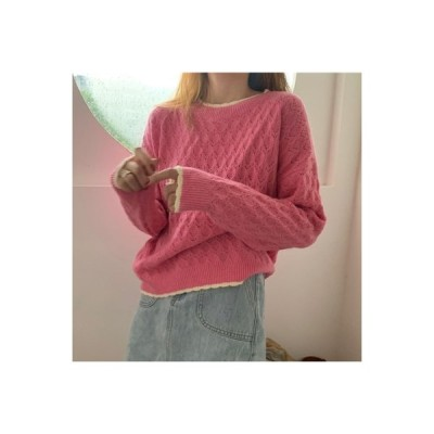 【送料無料】秋冬 白縁 セーターの女性 アウトドア ルース オーバーサイズ 風 韓国風 学生   364331_A63735-4702859