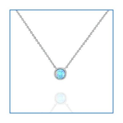 PAVOI 14K White Gold Plated Round Created Blue Opal Necklace   Opal Necklaces for Women[並行輸入品]