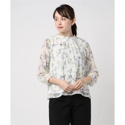 シャツ ブラウス 花柄 ハイネック8分袖ブラウス