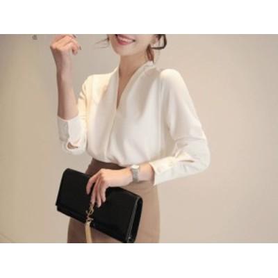 とろみシャツ ブラウス シャツ トップス ホワイト Vネック 通勤 フェミニン シンプル オフィス 韓国 白 アイロン不要 mme30