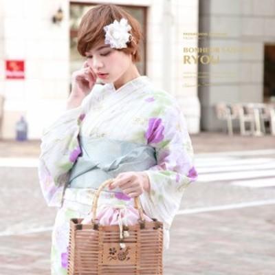 浴衣セット レディース レトロ 浴衣セット 大人 3点セット 白 ホワイト 紫 水色 芙蓉 花 縞 ラメ 綿 半幅帯 女性 ボヌールセゾン フリー