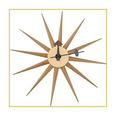 LeisureMod Maxi Star Sunburst Silent Non-Ticking Wall Clock Natural Wood【並行輸入品】