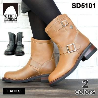 ポイント15倍 ブーツ エンジニアブーツ ショート 本革 レディース SIERRA DESIGNS シエラデザインズ SD5101 靴