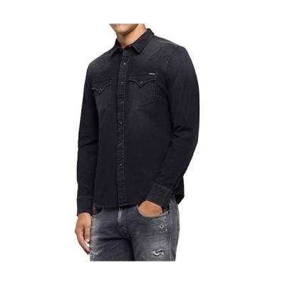 リプレイ カジュアルシャツ ハイパーストレッチ デニムシャツ メンズ ブラック EU XL (日本サイズXL相当)