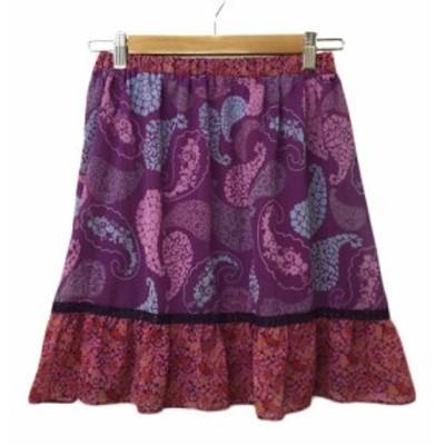 【中古】バナーバレット Banner Barrett スカート フレア ミニ フリル 総柄 38 紫 赤 パープル レッド レディース