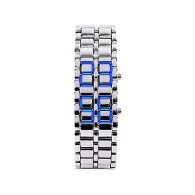 Luxury Men's and Women's Stainless Steel Bracelet Watches Blue LED Lamp Bla[並行輸入品]