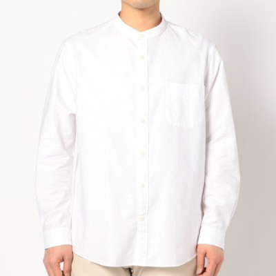メンズ 【在庫限り】長袖オックス無地バンドカラーシャツ ホワイト Lサイズ-ゆき丈86cm