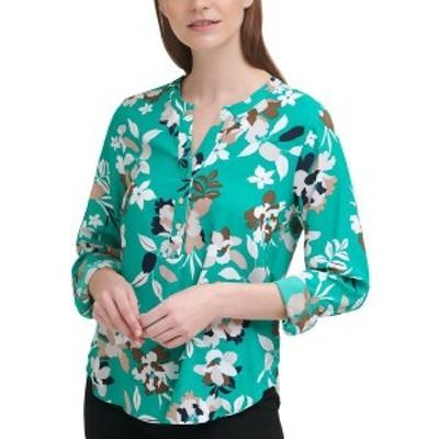 カルバンクライン レディース カットソー トップス Floral-Print Button-Front V-Neck Top Jngl/nvy