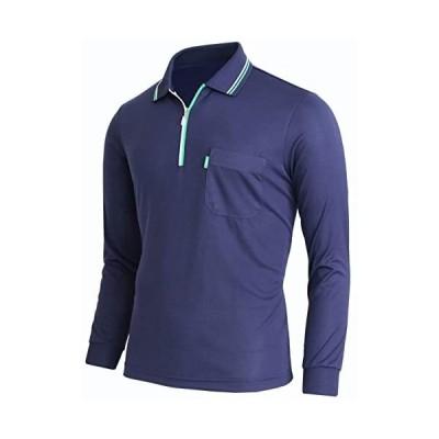 BcpoloメンズDRI-フィットポロシャツアスレチック長袖ジップポロシャツ (ネイビー S)