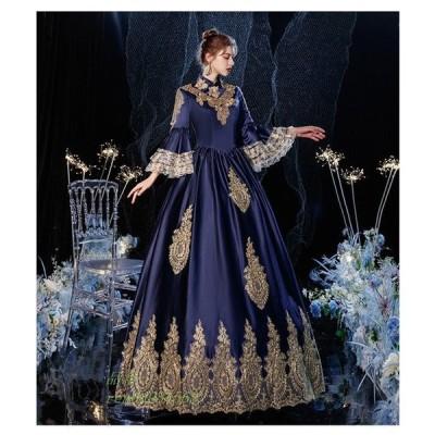 マリー・アントワネット ロココ調 18世紀 バケーションドレス 貴族風 宮廷 コスチューム お姫様ドレス 女性用 フレア ネイビー ドレス クリスマス