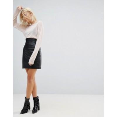 エイソス レディース スカート ボトムス ASOS DESIGN leather high waisted mini skirt Black