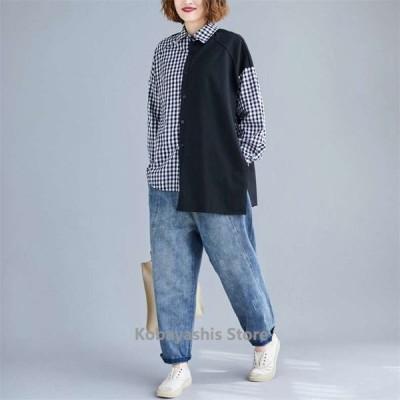 大きいサイズレディースシャツ長袖ブラウス秋切り替えミックス体型カバー着痩せ30代40代50代お洒落大人気