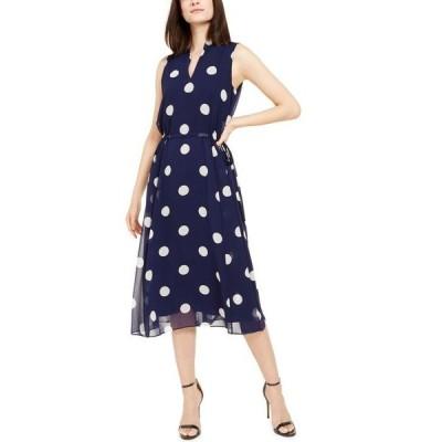 アンクライン レディース ワンピース トップス Dot-Print Midi Dress