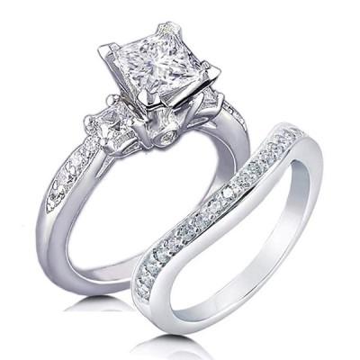 Venetia Top Grade Realistic Princess Cut Simulated Diamond 3-Stones Ri