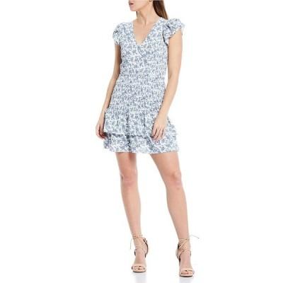 シュガーリップス レディース ワンピース トップス Blue Floral Print V-Neck Double Flutter Sleeve Smocked Mini Dress Blue/White