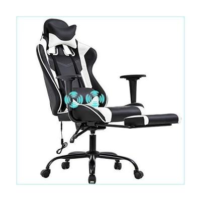 PC Gaming Chair Racing Office Chair Ergonomic Desk Chair Massage PU Leather Recliner Computer Chair with Lumbar Support Headrest Armrest Foo