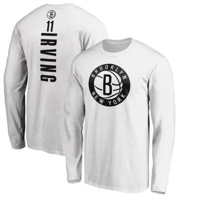 ファナティクス ブランデッド メンズ Tシャツ トップス Kyrie Irving Brooklyn Nets Fanatics Branded Playmaker Name & Number Long Sleeve T-Shirt