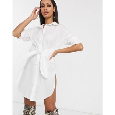 フェム リュクス Femme Luxe レディース ワンピース シャツワンピース ワンピース・ドレス shirt dress with high side splits in white ホワイト